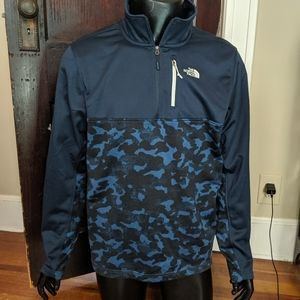 The North Face blue camo logo pullover jacket